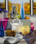 Still Life with White Watering Can by Linda Jordan